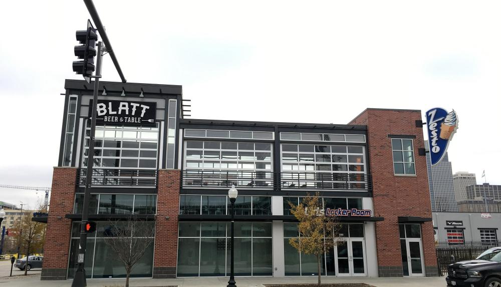 Exterior picture of the Blatt Beer and Table (and Zestos) project done by Scott Enterprises in downtown Omaha Nebraska.