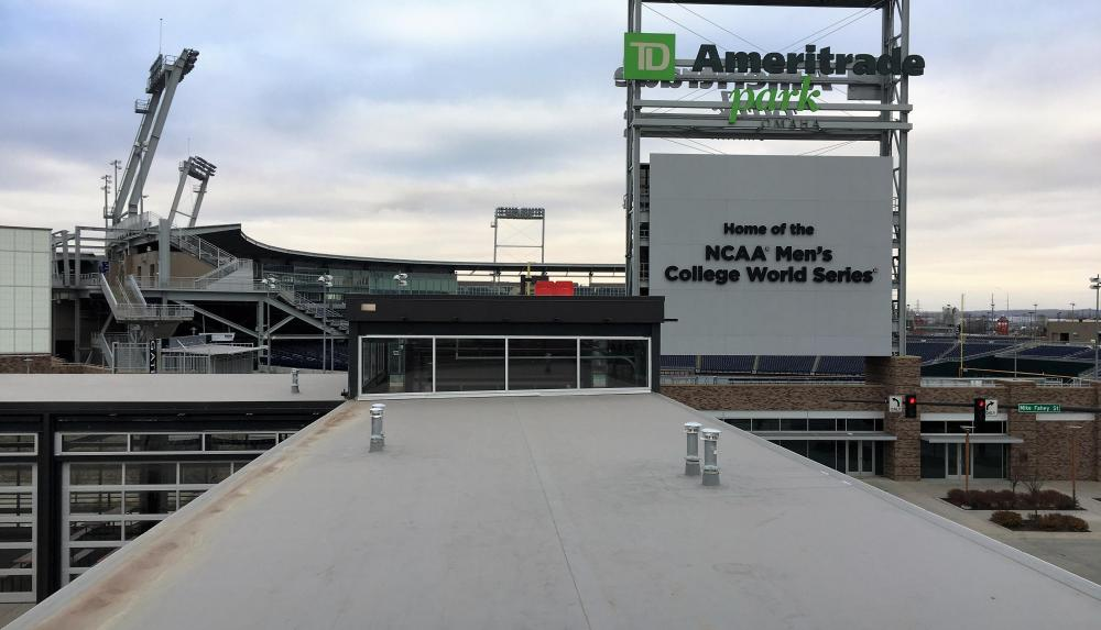 The Blatt Beer and Table's TPO Grey roof with side view of TD Ameritrade park.