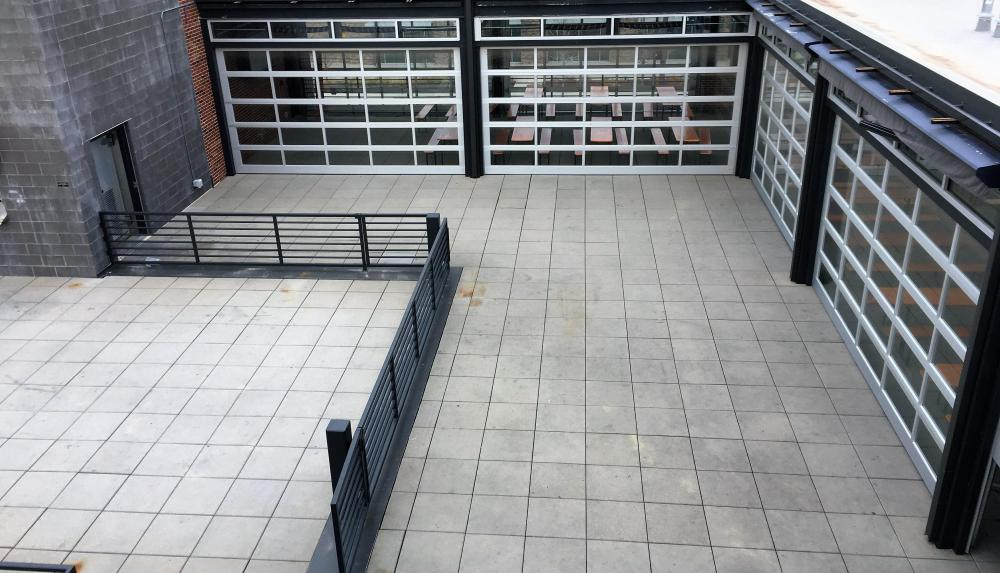 Image of the Blatt Beer and Table's rooftop paver patio area.